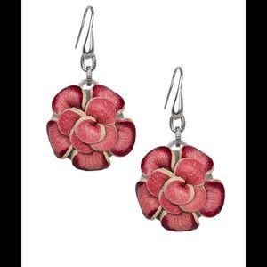 NWT Annette Flower Earrings Blush  Bouquet Silver